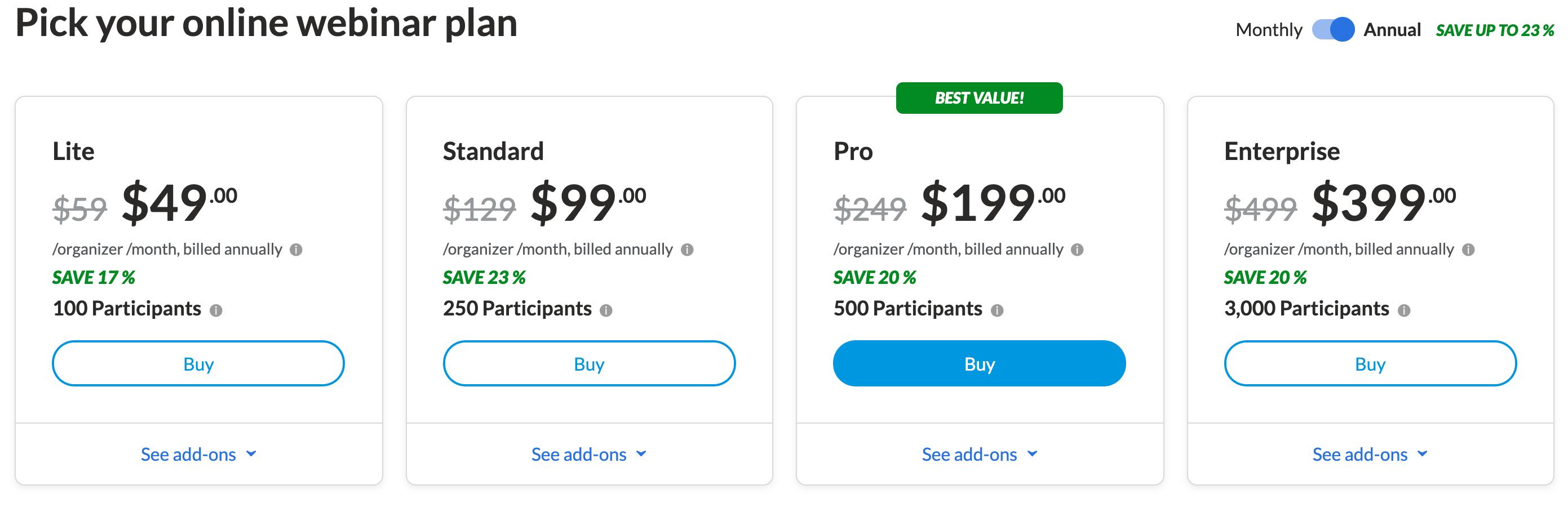 GoToWebinar Pricing Plans Discount Offer
