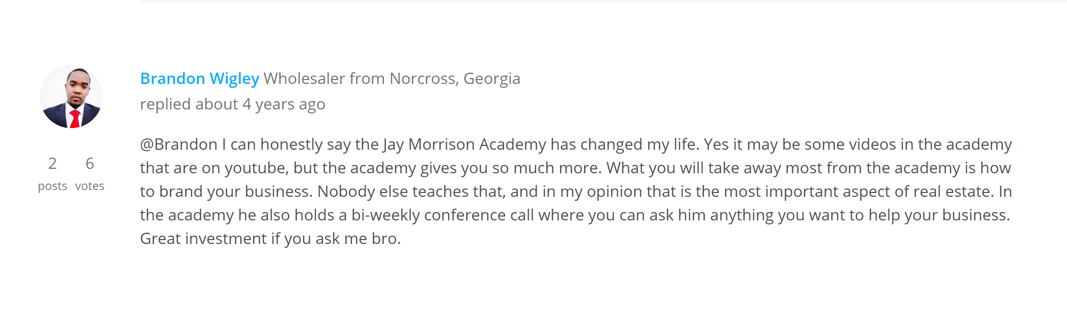 Jay Morrison Academy Reviews - Testimonial 3
