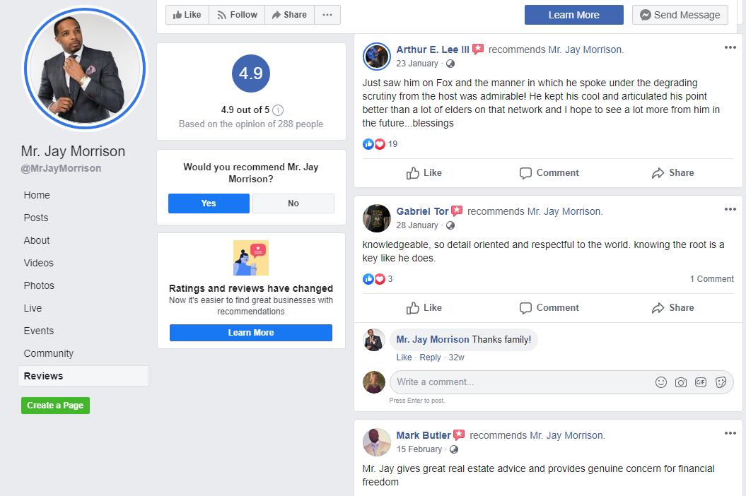 Jay Morrison Facebook Reviews