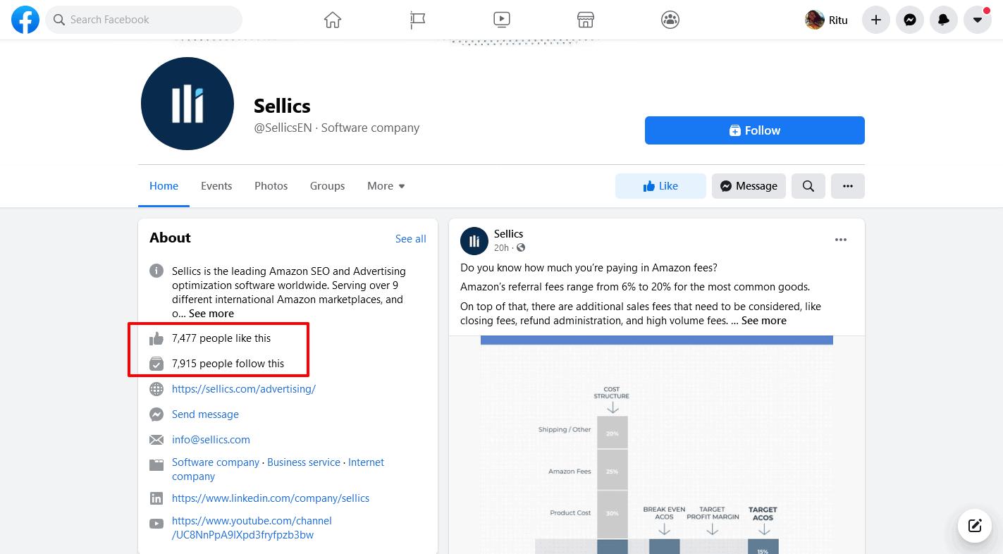 Sellics-Facebook