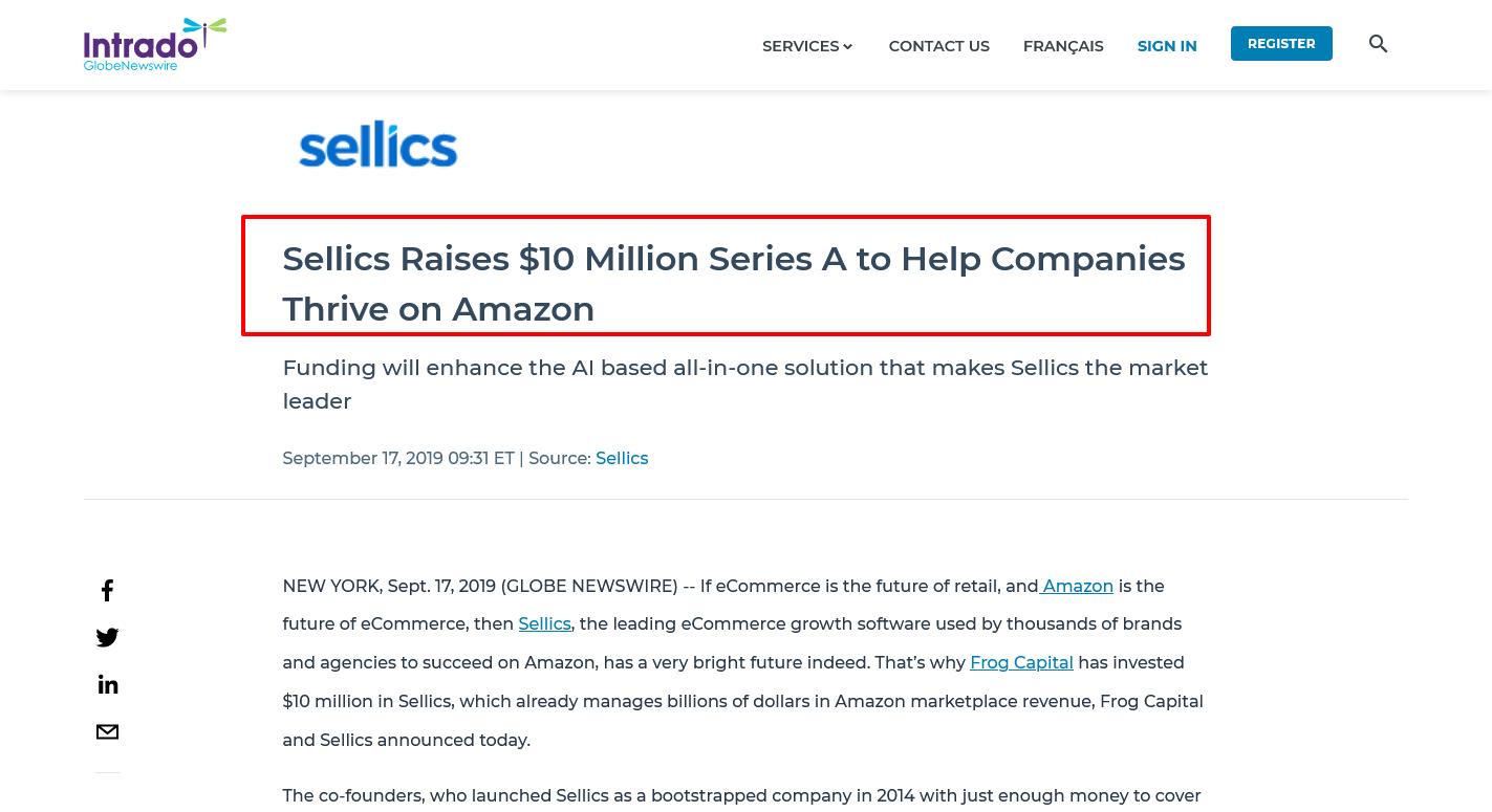 Sellics-Raises-10-Million