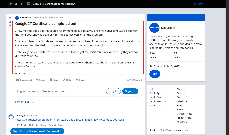 Coursera Reddit review