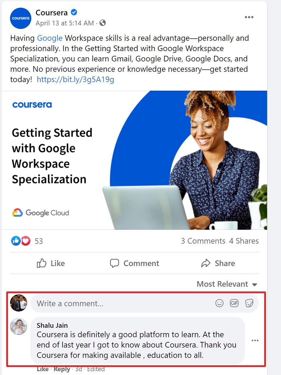 Coursera on facebook