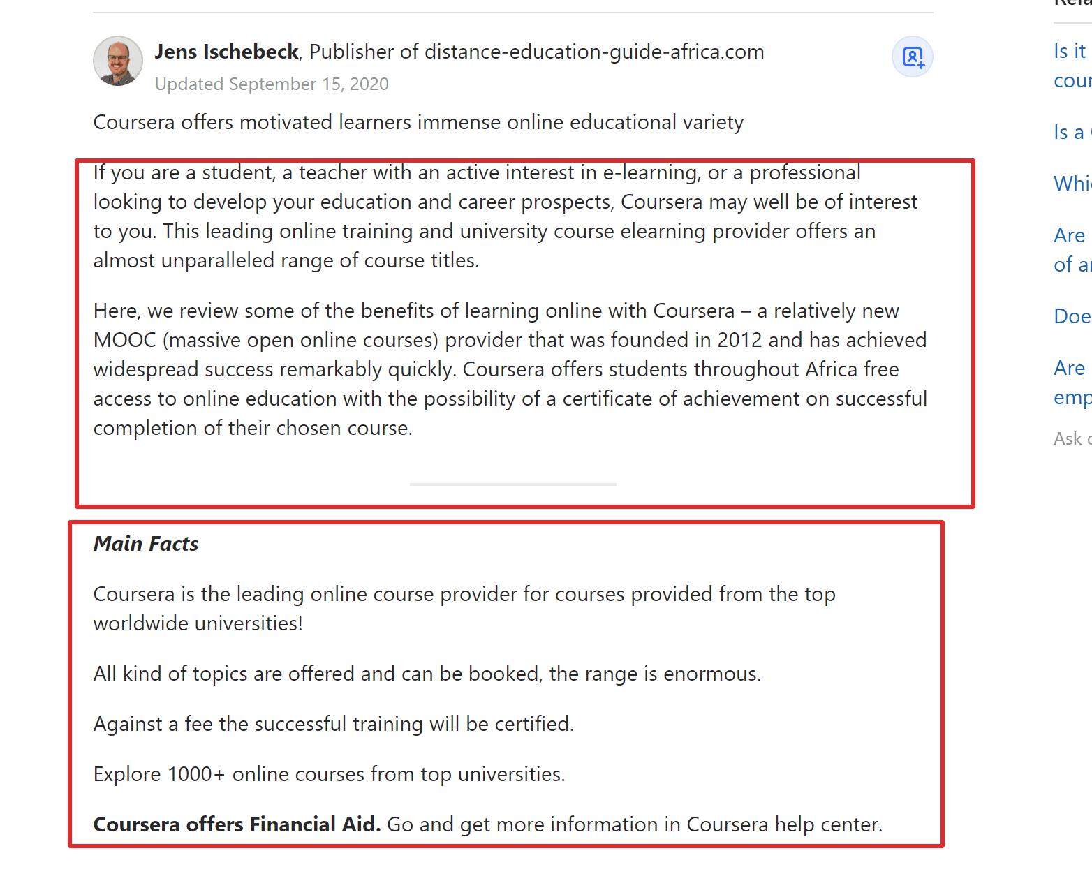 Coursera reviews on Google Quora