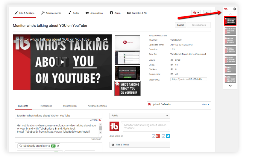 TubeBuddy Review- Quick Edit toolbar