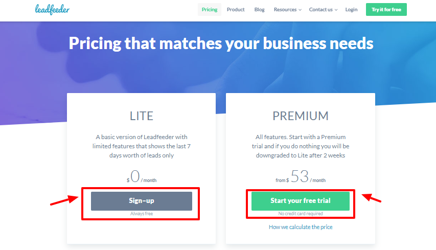Leadfeeder review - pricing