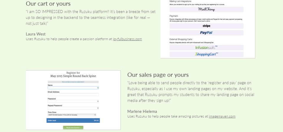 Ruzuku review -our cart