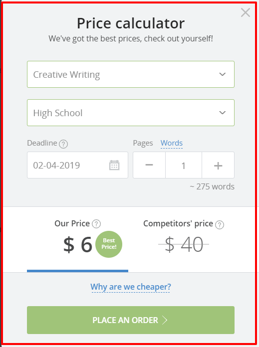 StudyBay Review- Price Calculator