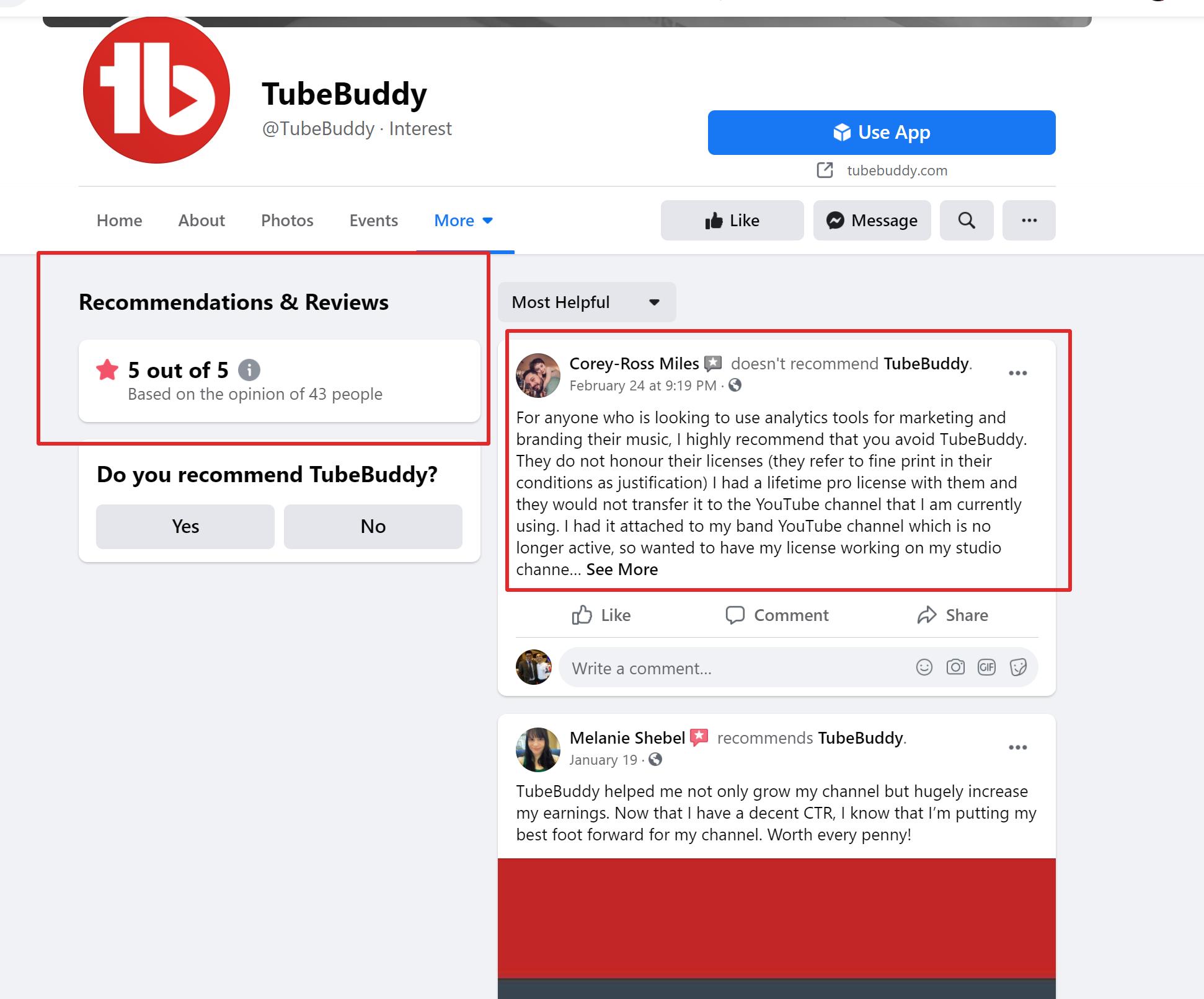 Tubebuddy facebook reviews