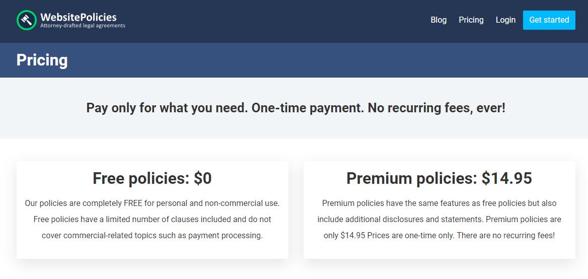 WebsitePolicies.com review- Pricing Plans