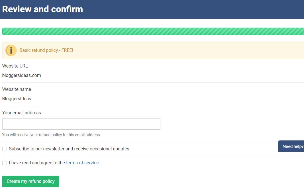 WebsitePolicies.com review- Refund Policy Finalize