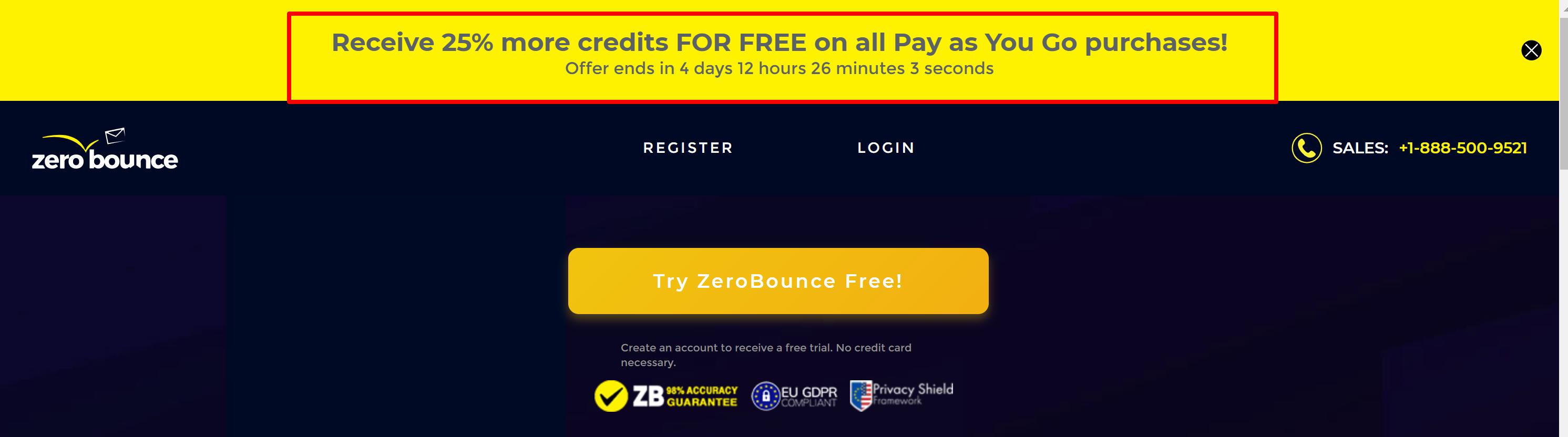 ZeroBounce free credits