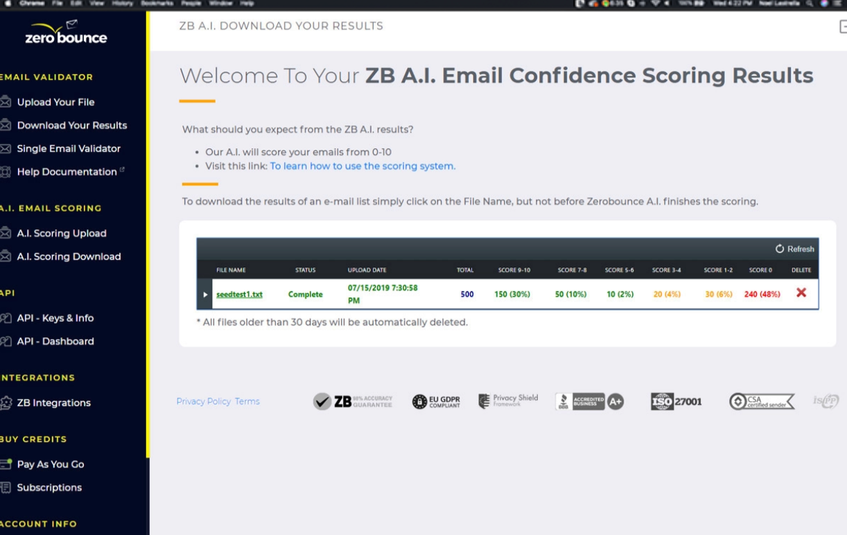 ZeroBoune AI- The Email Confidence Scoring Results