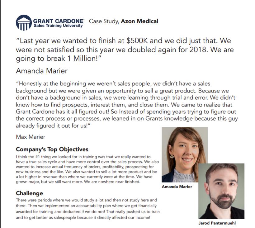 Grant Cardone Courses Review- CU Case Study Azon Medical pdf