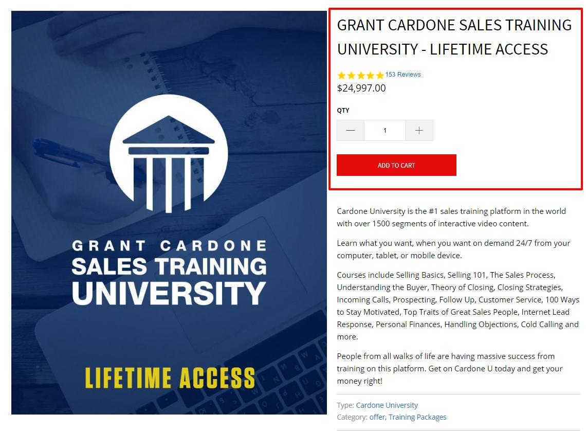 Grant Cardone Sales Training University Lifetime Access