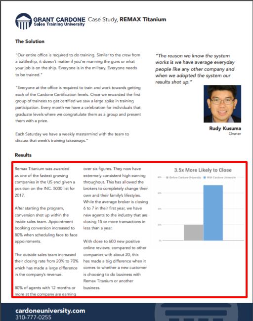 Grant Cardone Sales Training University- Real Estate Remax Titanium Case Study 2