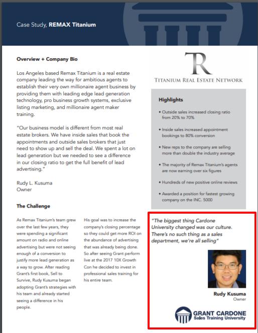 Grant Cardone Sales Training University- Real Estate Remax Titanium Case Study