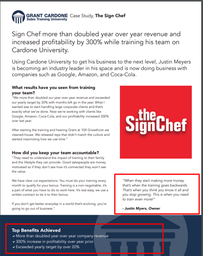 Grant Cardone Sales Training University- Sign Manufacturing Case Study The Sign Chef