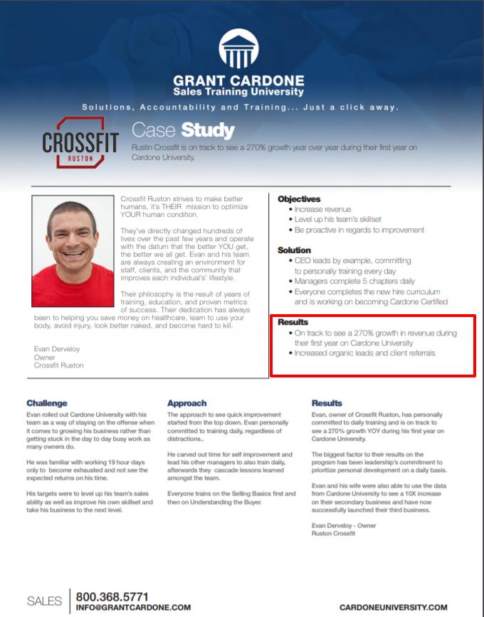Grant Cardone University Review- CU Crossfit Ruston Case Study