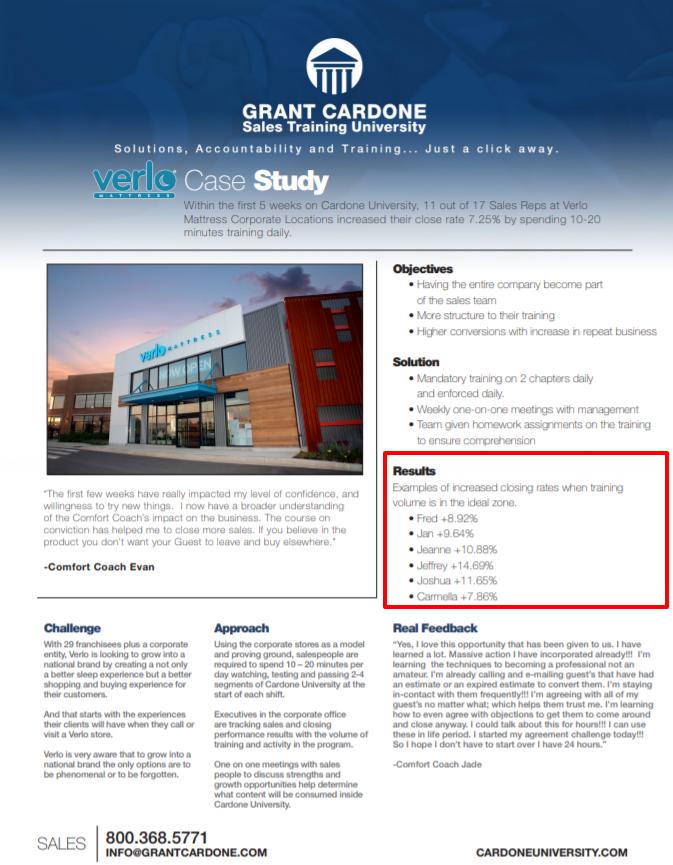 Grant Cardone University Review- Furniture Case Study Verlo Mattress Case Study pdf