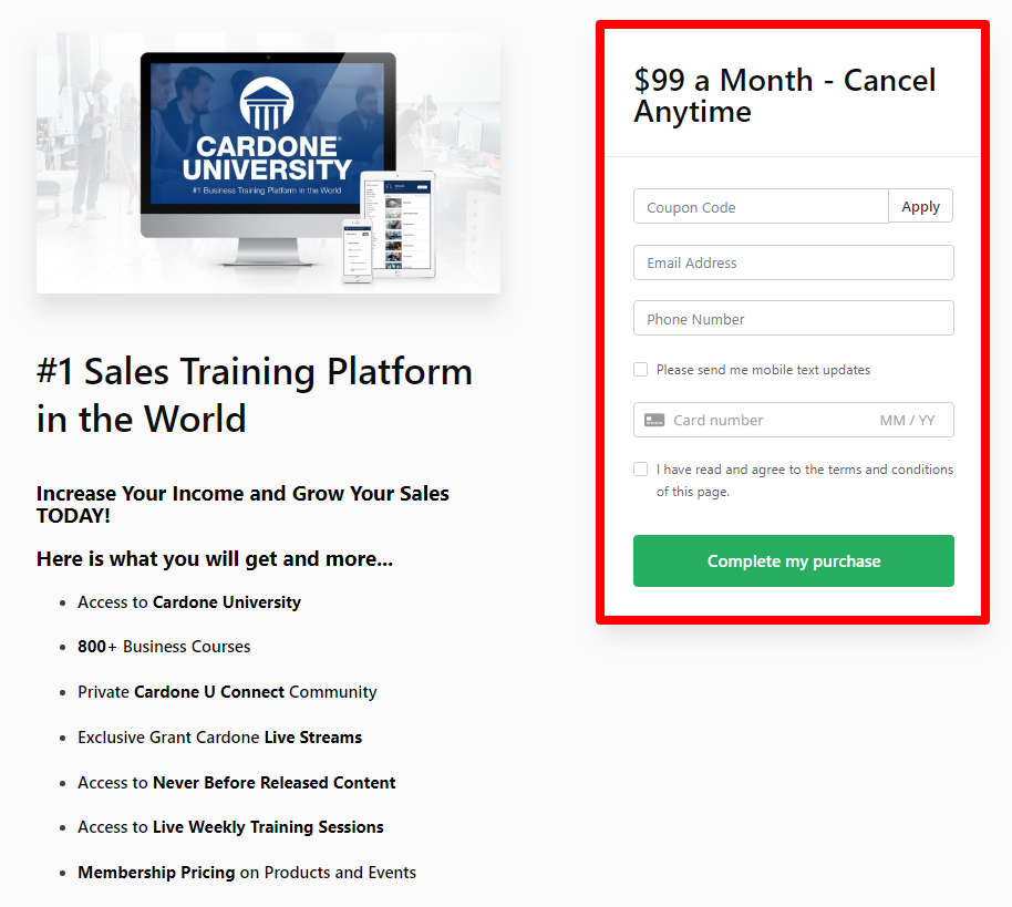 Grant CardoneUniversity Review- Pricing Plans Of Training