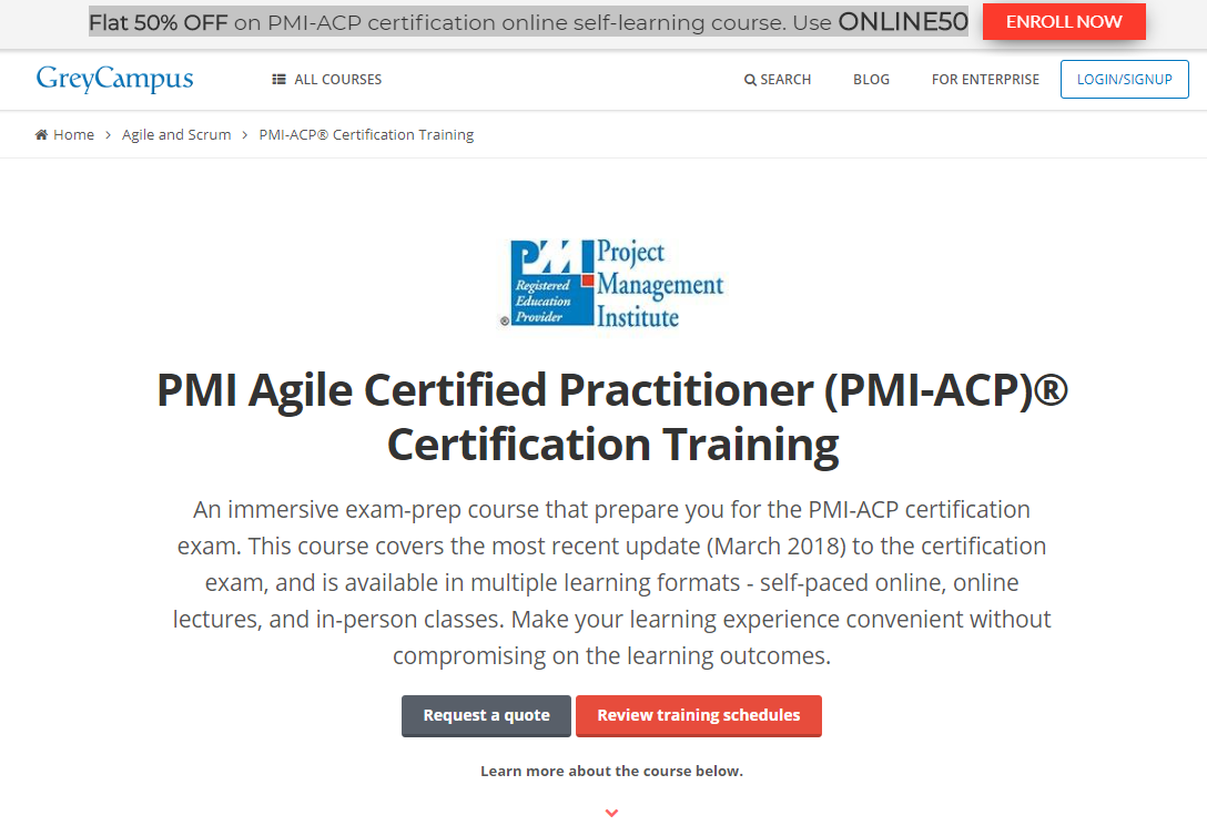 Grey Campus Courses- Best PMI-ACP Online Training Providers