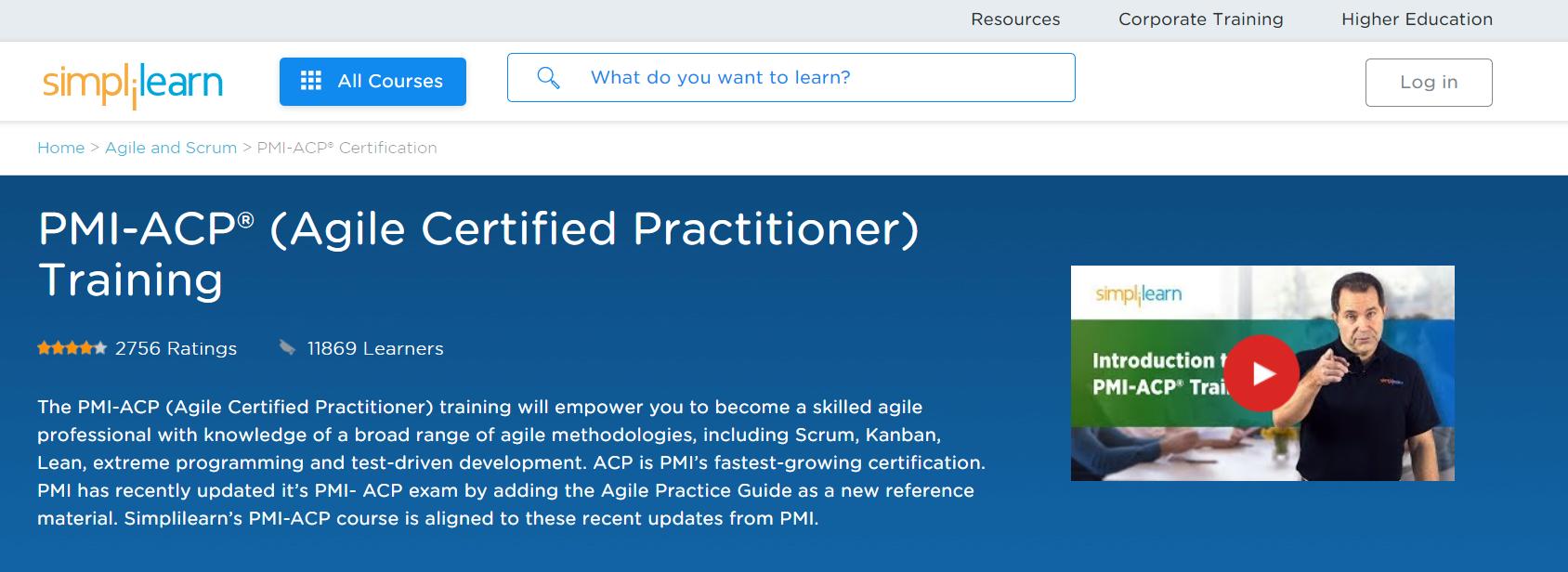 Simplilearn- Best PMI-ACP Online Training Providers