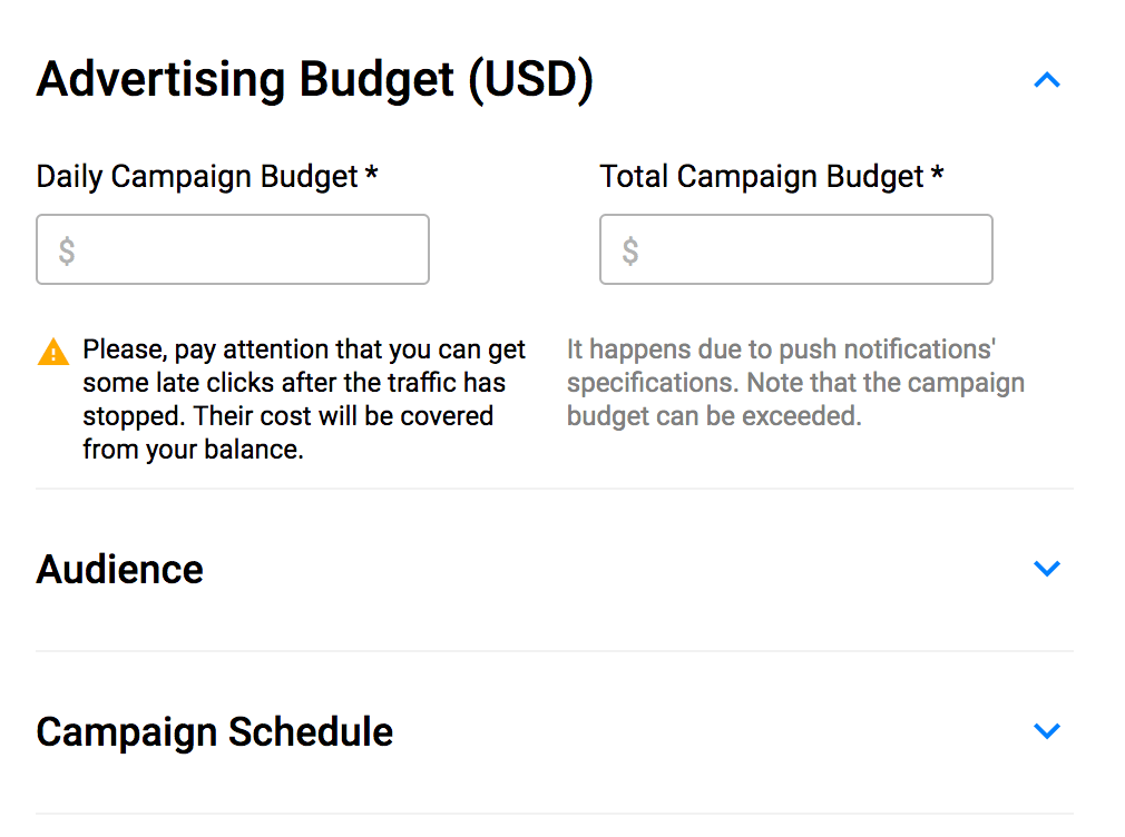 Set Daily Budgets - Push Ads Guide
