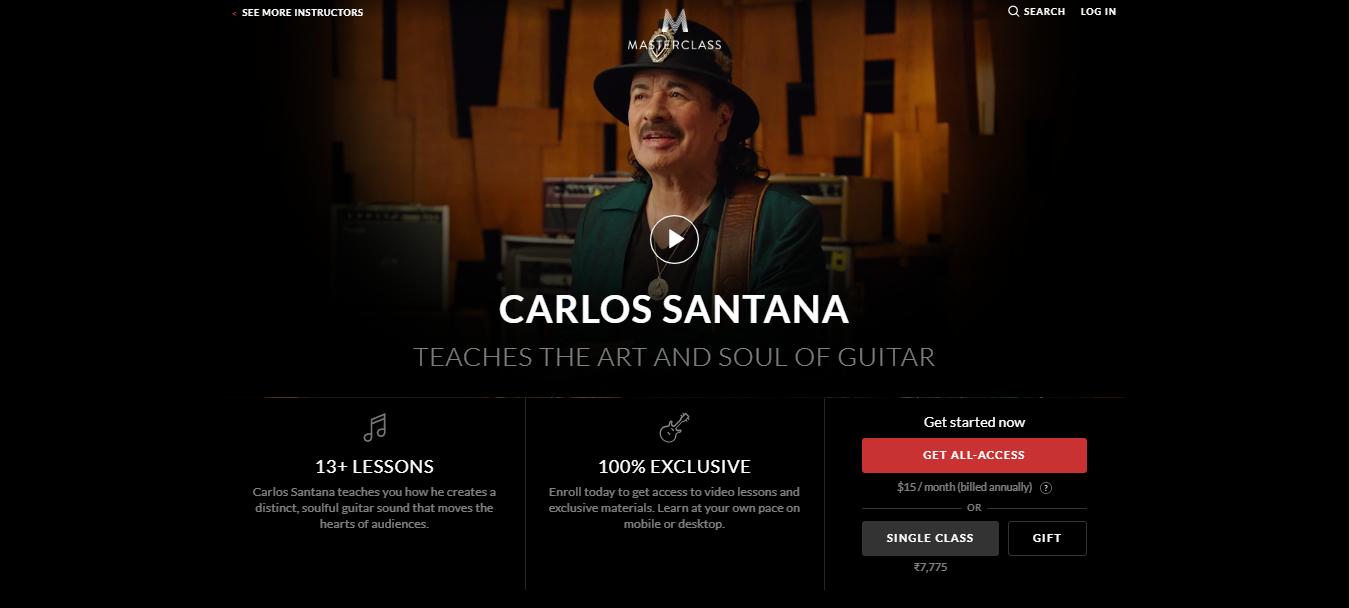 Carlos Santana MasterClass Review - pricing