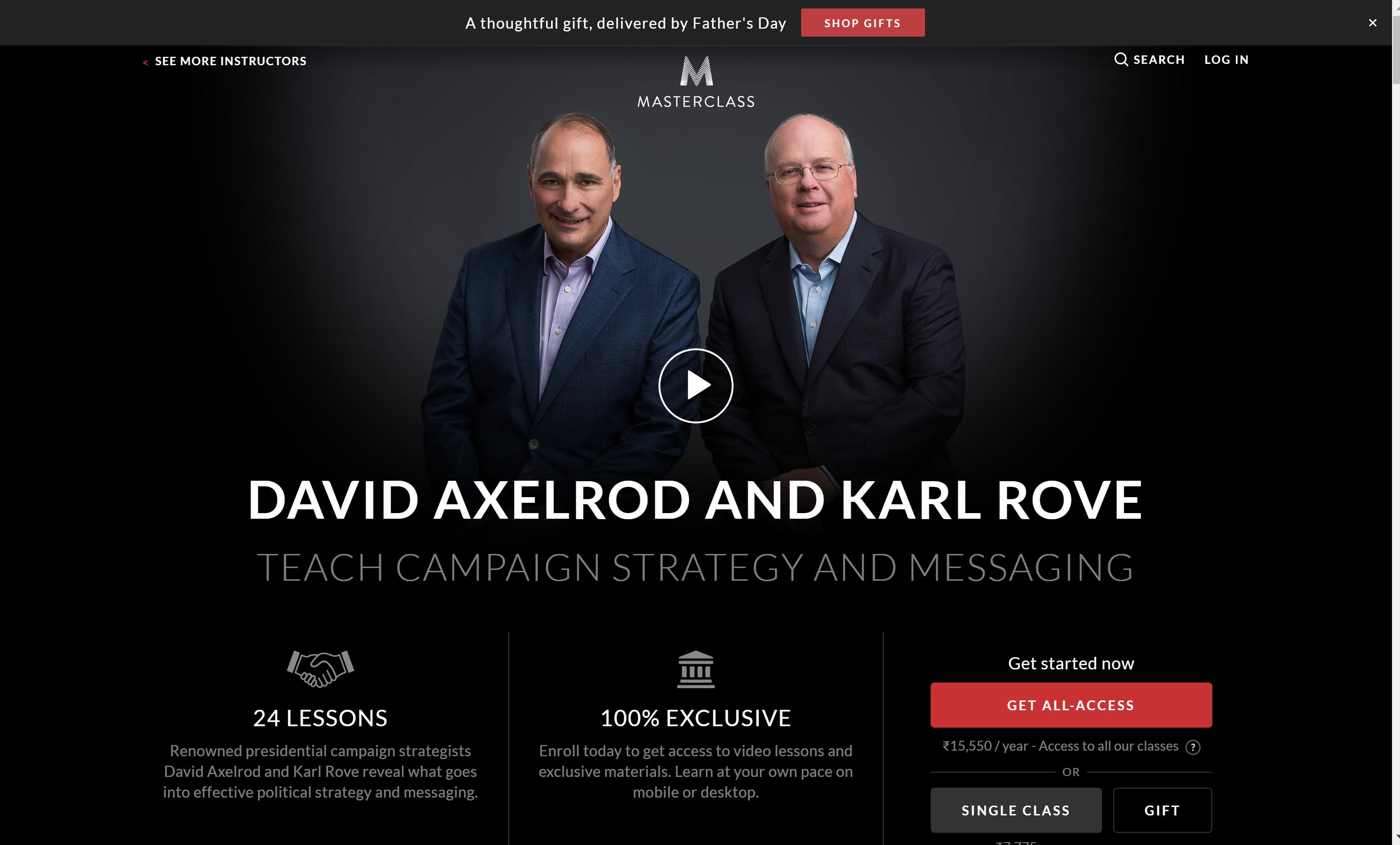 David Axelrod & Karl Rove Masterclass