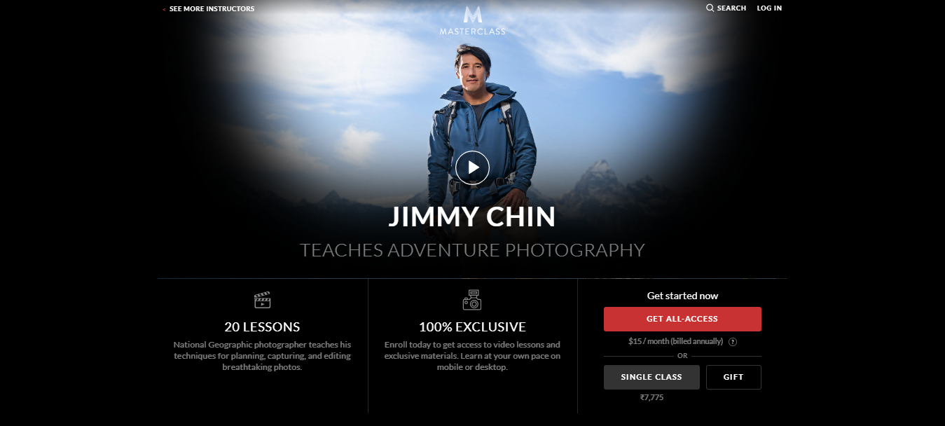 Jimmy Chin MasterClass Review- pricing