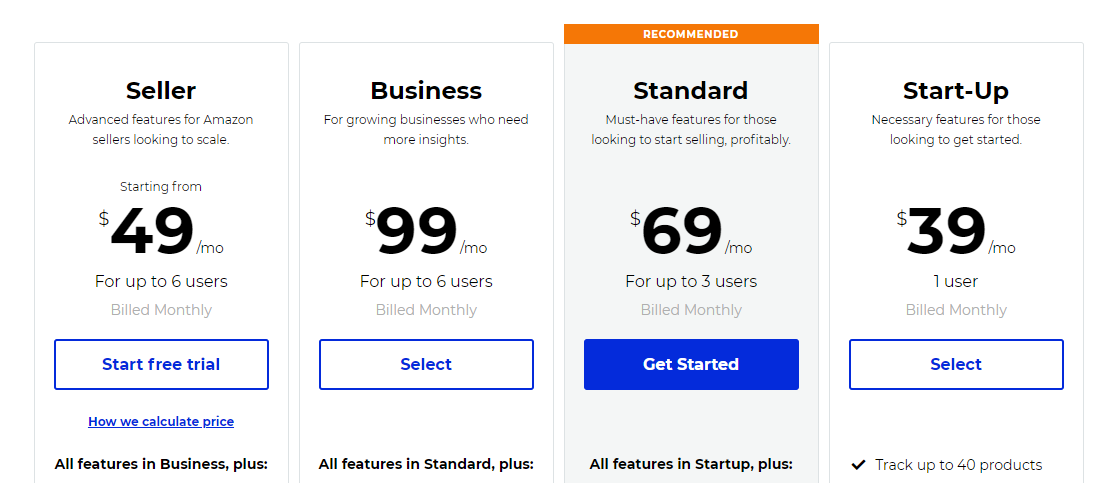 Jungle Scout Web Pricing Plans