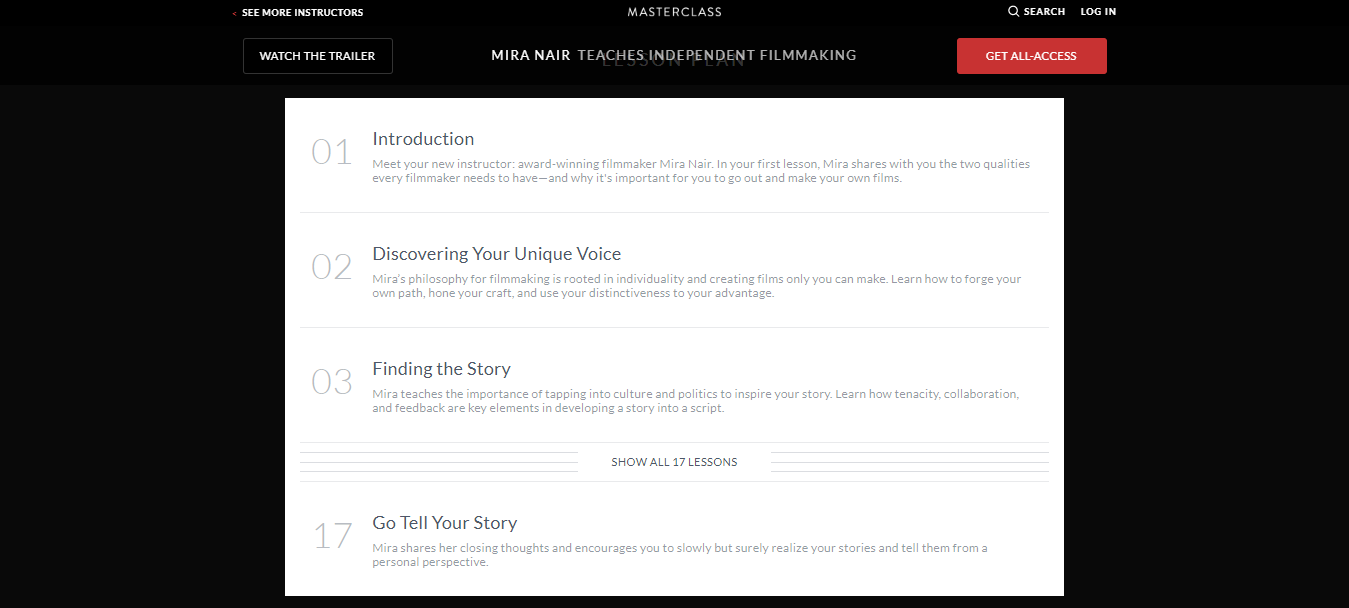 Mira Nair MasterClass Review - video content