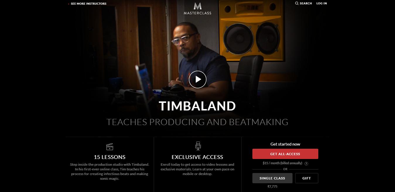 Timbaland MasterClass Review - pricing