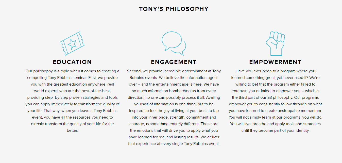 Tony Robbins Workshop Review- Tony Philosophy