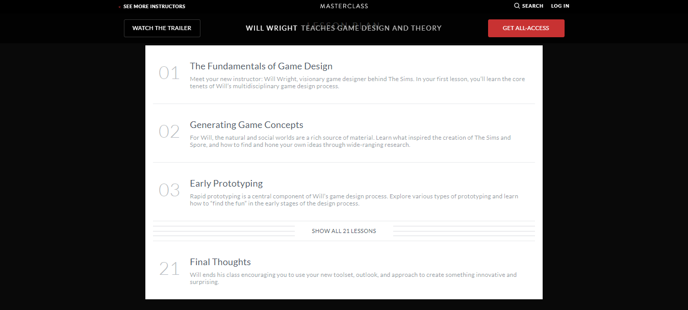 Will Wright MasterClass Review - Lesson