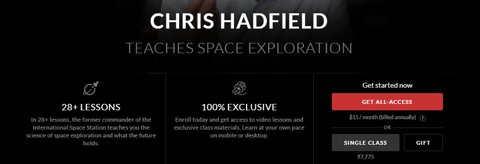 Chris Hadfield Masterclass Review - pricing