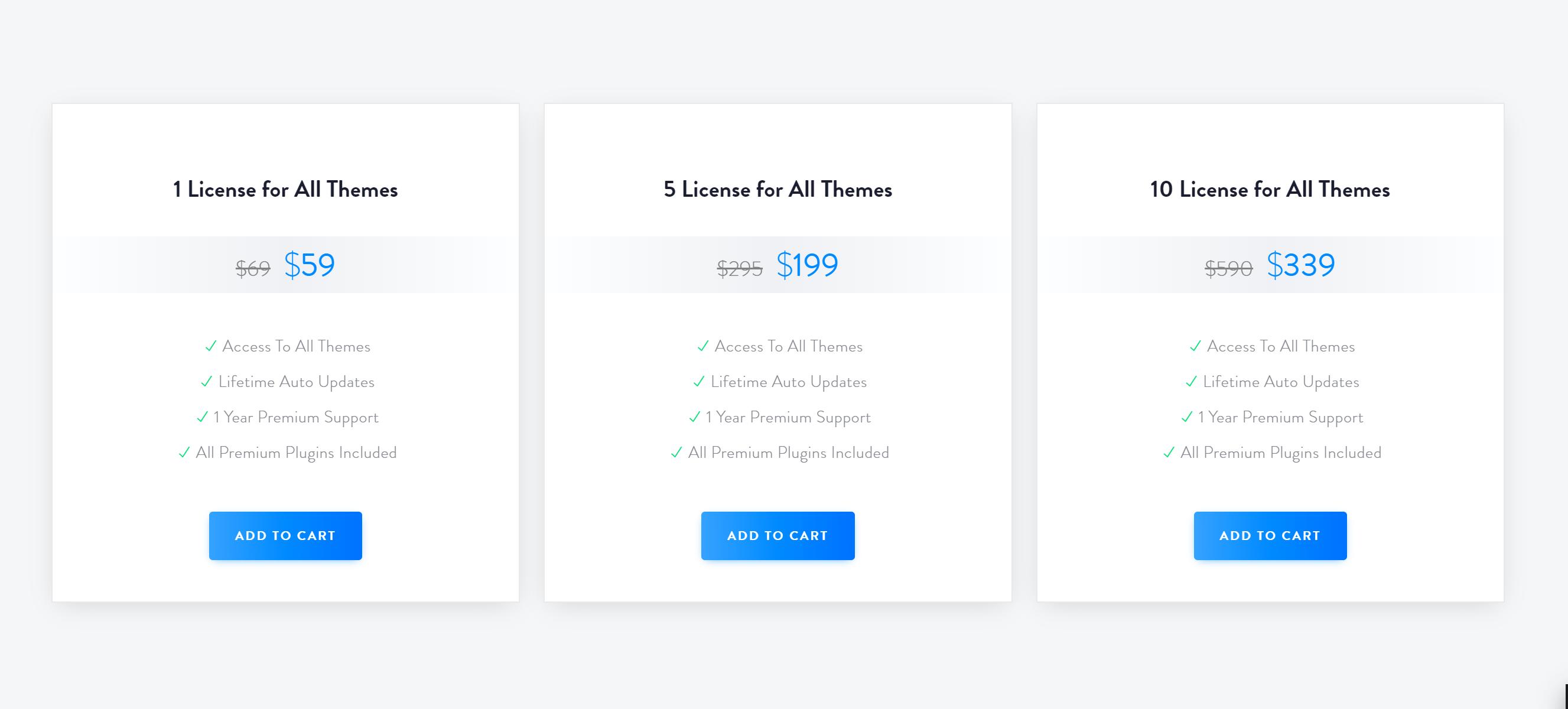 Deep theme pricing