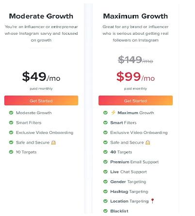 A Review of Kicksta - Pricing plan