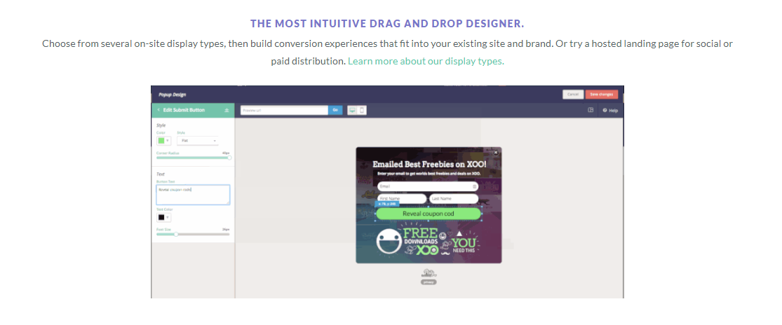 Privy Review - drag and drop design