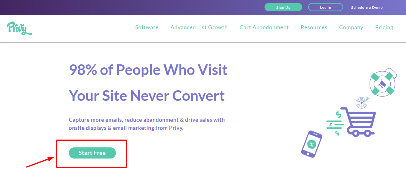 Privy Review - login page