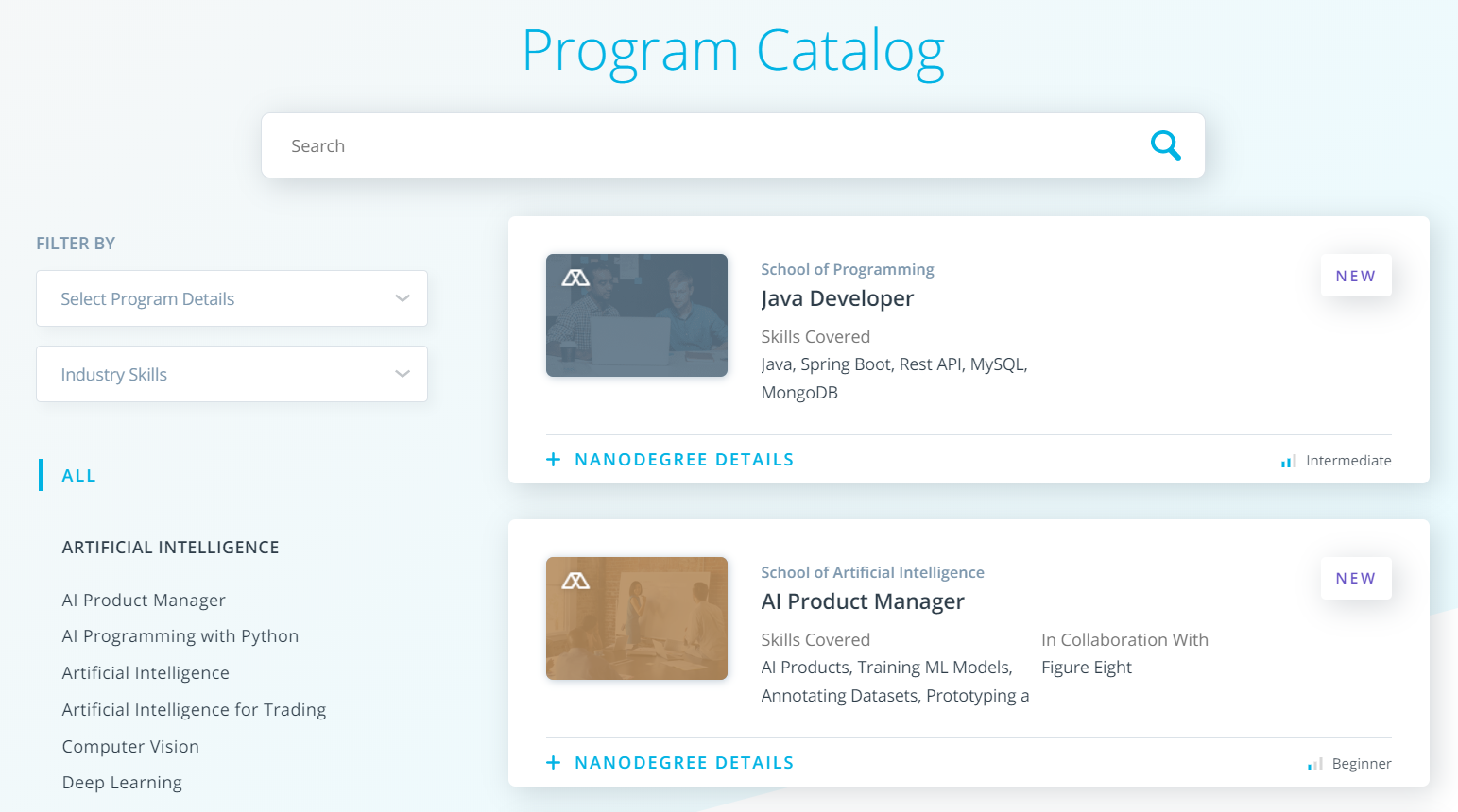 Udacity Review - Program Catalog