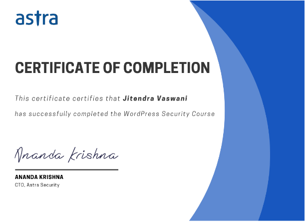 Astra WordPress Security Course- Completion Certificate