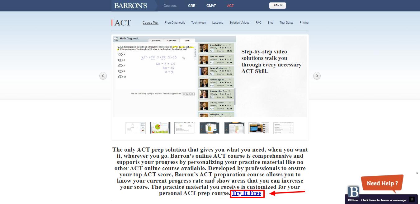 Barrons Test Prep Review - Online ACT Preparation with Barron's Test Prep Course Tour