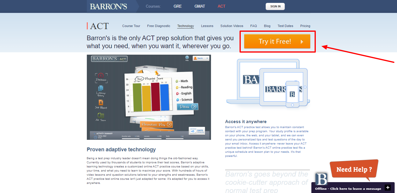 Barrons Test Prep Review - Online Practice Test and Course Technology
