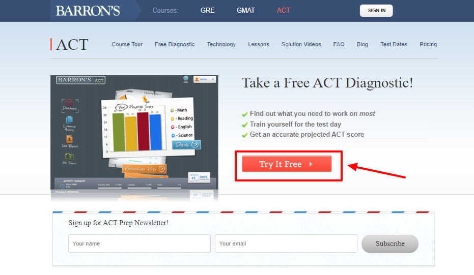 Barrons Test Prep Review - Take Free Step