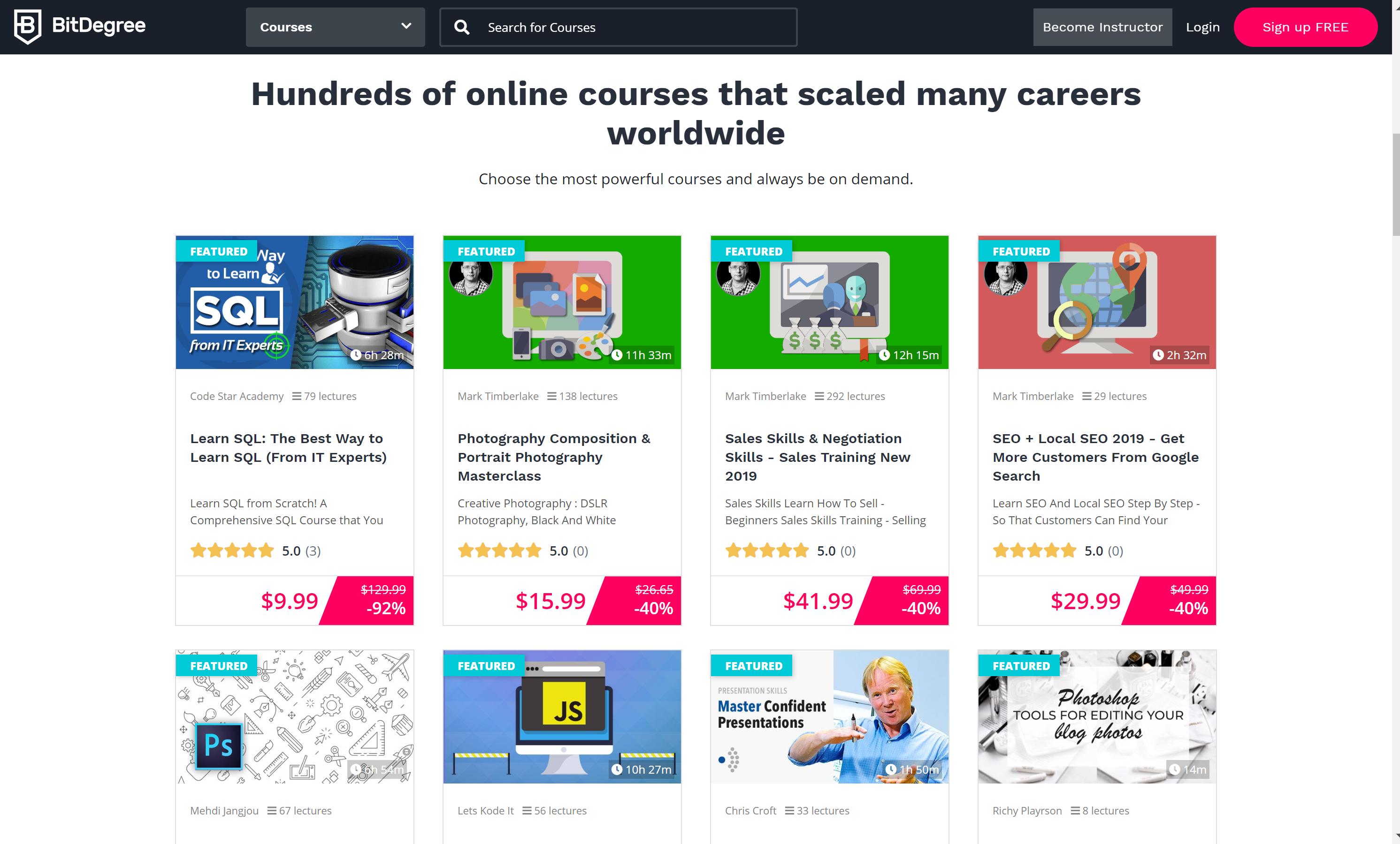 BitDegree courses