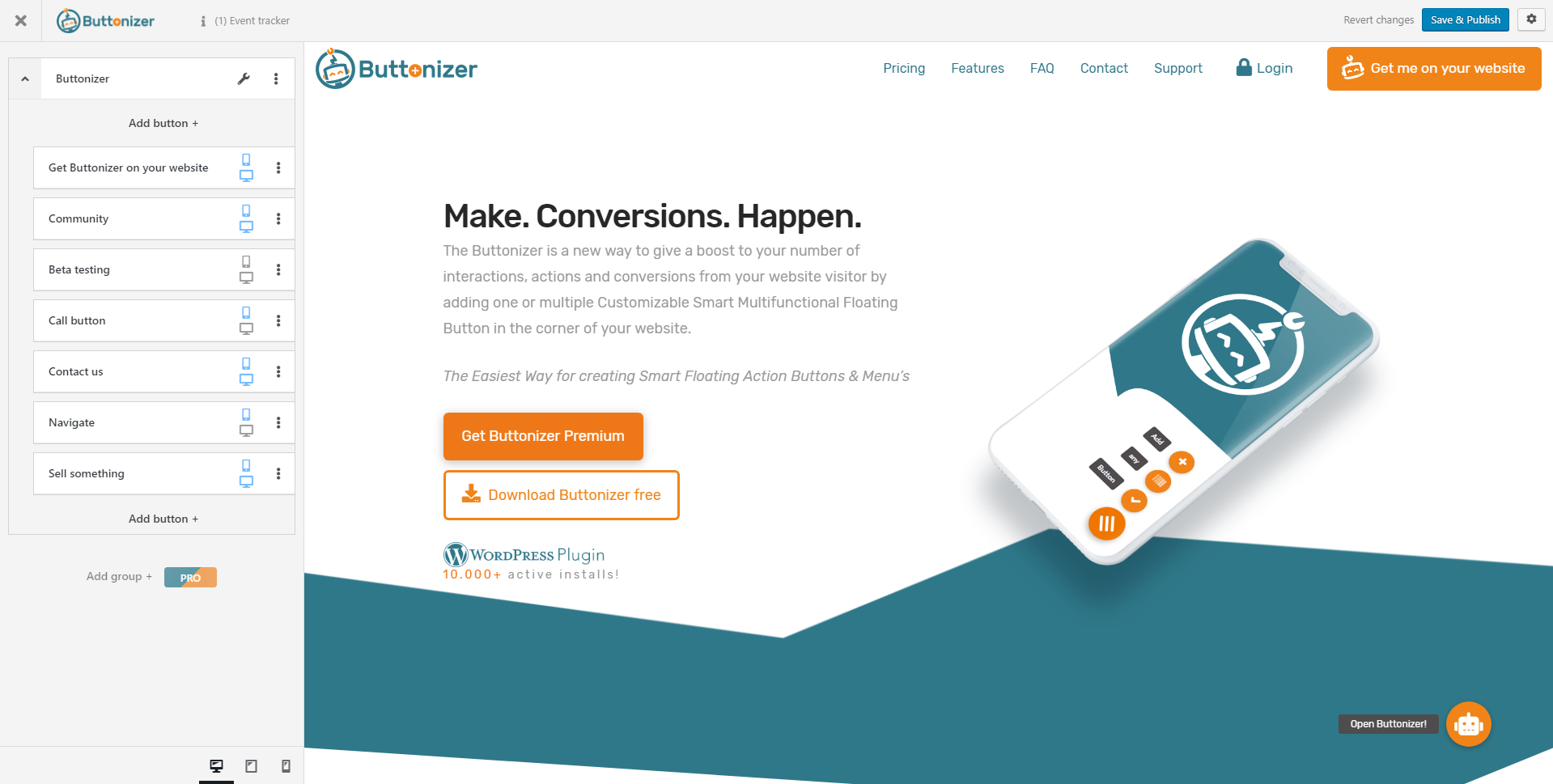 Buttonizer for wordpress