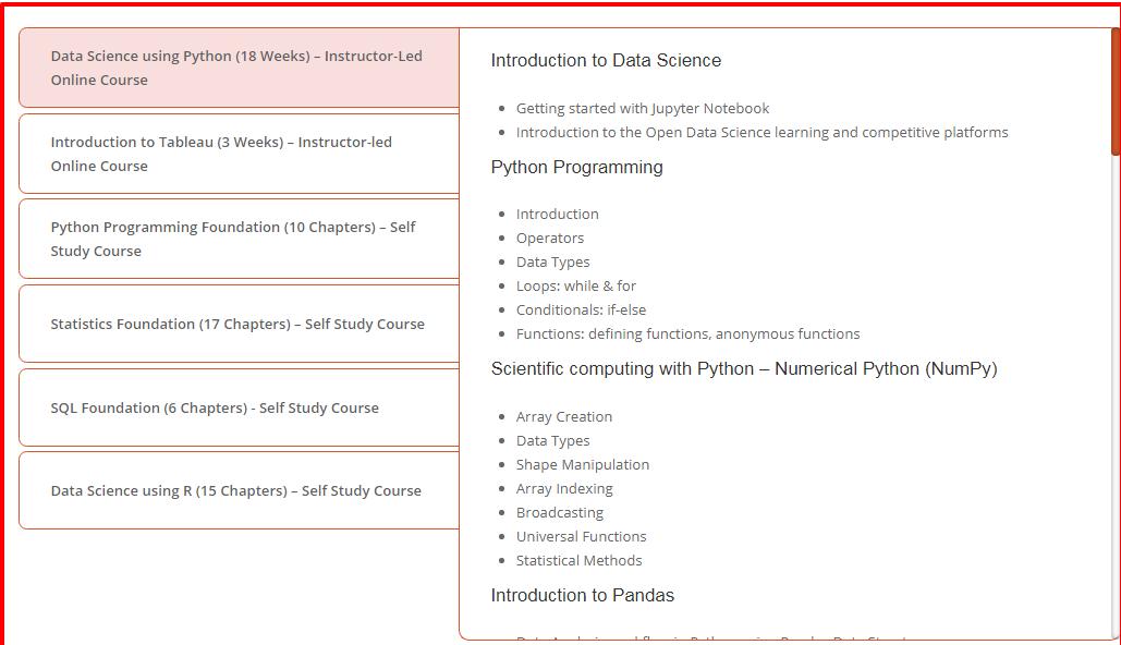 Digital Vidya Python Data Science Course Review- Curriculum Data Science