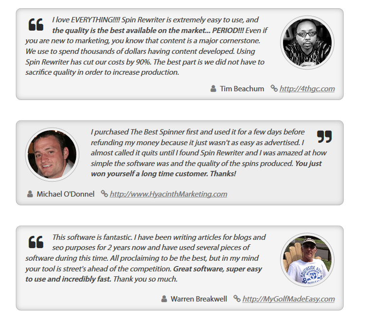 Customer Reviews- Spin Rewriter